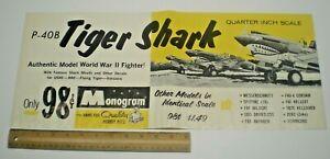1962 MONOGRAM MODEL KIT WW2 P-40B TIGER SHARK  STORE SIGN DISPLAY POSTER L@@K!