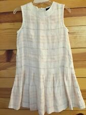 Burberry Linen Check Dress with Check Print Pleated Skirt Girls Size 4
