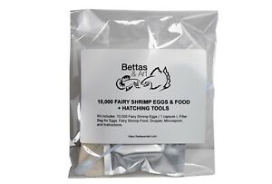 10,000 Fairy Shrimp Eggs Capsule & Food + Hatching Tools | Bettas & Art