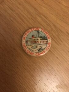 1951 Holiday Camp Advertising Tin Button Badge -  Middleton Tower