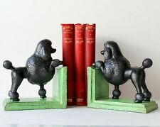 Poodle Bookends Cast Iron Distressed Style