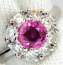 2.00CT NATURAL FANCY INTENSE PINK SAPPHIRE DIAMOND RING CLUSTER HALO