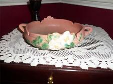 "ROSEVILLE POTTERY WHITE ROSE PATTERN 389-6"" DOUBLE HANDLE DISH RARE VNTG."