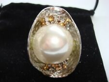 sarah b. designer fashion ring large pearl crystals 2""