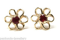 9ct Gold Ruby Studs Daisy earrings Gift Boxed Made in UK Christmas Gift