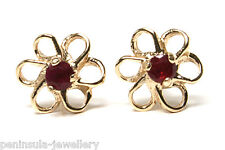 9ct Gold Ruby Daisy Studs earrings Gift Boxed Made in UK Christmas Xmas Gift