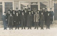 Berlin NY * RPPC Men in Front of Store ca. 1908 * Rensselaer Co. Troy  Adv.