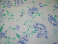 FLORAL COTTON SATEEN PRINT-AQUA/BLUE -CRAFT FABRIC-FREE P&P