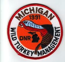 1991 MICHIGAN DNR SUCCESSFUL TURKEY HUNTER PATCH -DEER-BEAR-ELK-MOOSE-FISHING
