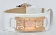 NEW GUESS WHITE PATENT LEATHER CUFF+CRYSTALS LOGO ROSE GOLD WATCH-W10257L1