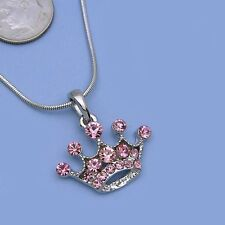 Light Pink Crown Princess Tiara Necklace Chain Crystal Silver Tone Kid Pendant C