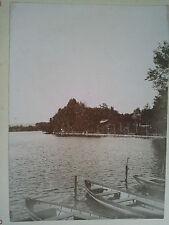 Originale photo XIXème - France - Enghien - Vue du Lac sur la route d'Argenteuil