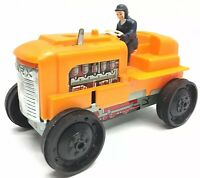 Vintage 1970's Marx Windup Tractor WORKS with Driver Missing Exhaust