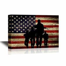 wall26 - Military Canvas -Silhouette of Troops on American Flag Background-12x18