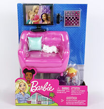 Barbie Doll Living Room Furniture Accessories Set Love Seat Couch Cat TV Popcorn