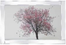 Imagen De Árbol De Flor Rosa Brillo en marco Espejado 100x60 Cm