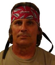 Handmade Indian Motorcycles Biker Red and Black Headband with Ties