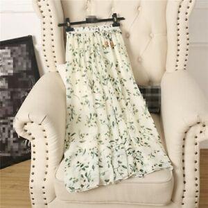 Women Summer New Skirts Wild Korean Ladies Skirts Long Floral Chiffon Skirt