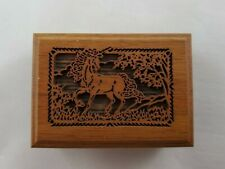 "Lasercraft Wooden Mini Music Box Unicorn Imprint ""A Race To The End"""
