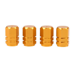 4X Gold Auto Car Tyre Rim Valve Wheel Stem Air Port Dust Caps Cover Accessory