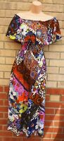 NEXT RUFFLE BARDOT MULTI COLOUR FLORAL BOHEMIAN A LINE MIDI SUMMER DRESS 10 S