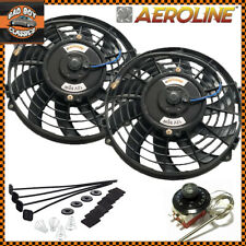 "9"" Inch Electric Radiator Intercooler Fans AeroLine 12v 80w x2 + Thermostat"