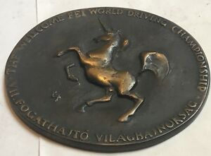 FEI equestrian horse driving World Cup Bronze Medal Paperweight