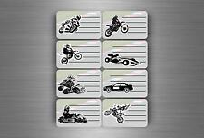 16x etichetta adesive  notebook scuola libre nome scolastica quaderni auto moto