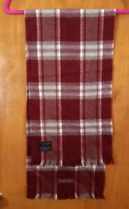 CHRISTIAN DIOR MONSIEUR Red Burgundy Plaid Merino Wool Rectangle Scarf  50 x 12