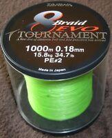 Daiwa EVO Tournament 8-Braid 1000-m-Spule 0,18 mm / 15,8 kg - chartreuse - NEU