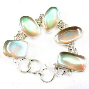 "180.10Cts Lovely Mystic Topaz Gemstone Silver Overlay Handmade Bracelet 8"""