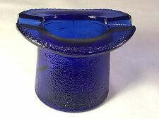 Cobalt Blue Glass Top Hat Ash Tray Toothpick Lowell Hand Cream Piqua, OH