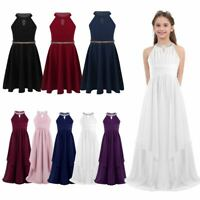 Girls Princess Party Dress Kids Formal Wedding Bridesmaid Long Maxi Prom Gown