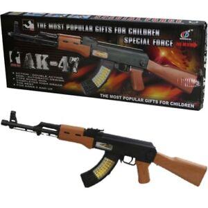KIDS AK47 SNIPER RIFLE TOY GUN LIGHTS SOUND VIBRATION BOYS ARMY SOLDIER PLAY