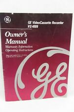 Ge Video Cassette Recorder Vg4009 Book Owner's Manual Instructions 1990