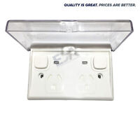 Double Power Point Outlet D GPO Neon Indicator w/ Waterproof Clear Enclosure Lid