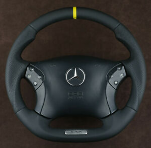Mercedes Custom Steering Wheel FLAT BOTTOM THICK 00-07 C Class W203 C55AMG C32