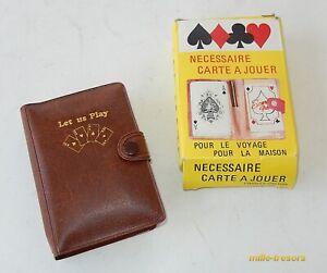 Nécessaire ETUI avec JEU de 54 CARTES + Carnet + Crayon - Vintage 70'