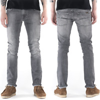 Nudie Herren Slim Fit Stretch Jeans Hose  Thin Finn Dark Pavement   Grau