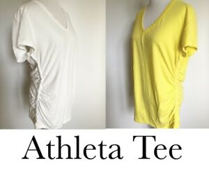 ATHLETA SHORT SLEEVE COTTON BLEND TEE XL YELLOW & WHITE TALL TAB RUCHED SIDE