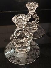 """2 Cambridge Rosepoint Keyhole Candlestick Holder Single 5"""" 3900/68"""