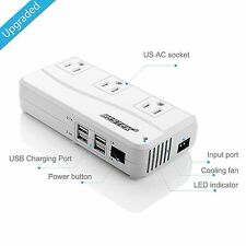 200W Power Inverter DC 12V to 110V AC Inverter with 4.2A 4-Port USB Car Adapter