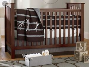 Pottery Barn Kids Sock Monkey Crib Bed Skirt Organic Brown/Gray Stripes NEW
