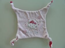 J7- DOUDOU PLAT CARRE HELLO KITTY ROSE FLOCON NEIGE DESSOUS ROSE MOTIF POIS