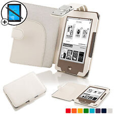 White Leather Smart Case Cover with LED Light for Tolino Page Scrn Prot & Stylus
