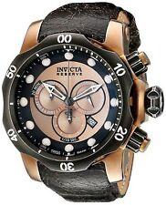 NEW Invicta 15987 Men's Venom Chrono Copper/Pearl Accent Dial Blk Leather Watch
