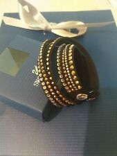 SWAROVSKI BLACK, SILVER & COPPER DOUBLE WRAP SLAKE BRACELET - NEW