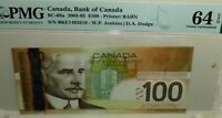 Canada 2003, $100 POLYMER BANKNOTE,  PMG Choice UNC 64 EPQ