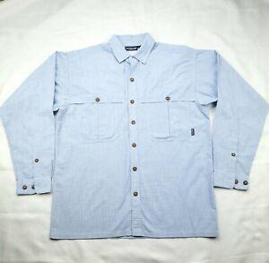 Patagonia Men's Button up Long Sleeve Vented Fishing Shirt Size Medium Blue