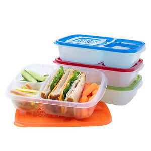 4 Pack/3 Compartment Reusable Bento Boxes For Adults/Kids Lunch Food Containers